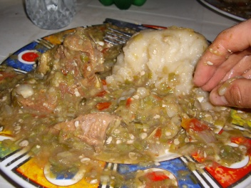 This is the finished gumbo. You ate with your hands. This was one of my favorite meals.